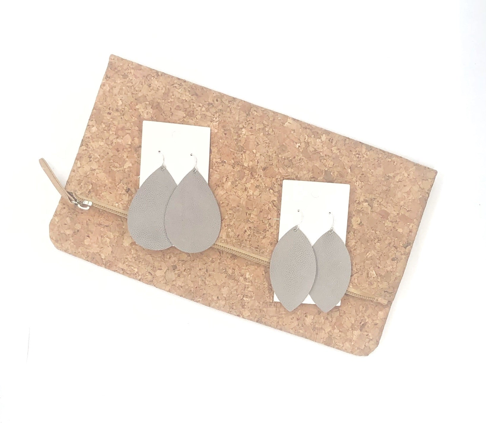 Greige Leather Marquis Earrings
