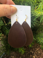 Coffee Bean Leather Teardrop Earrings