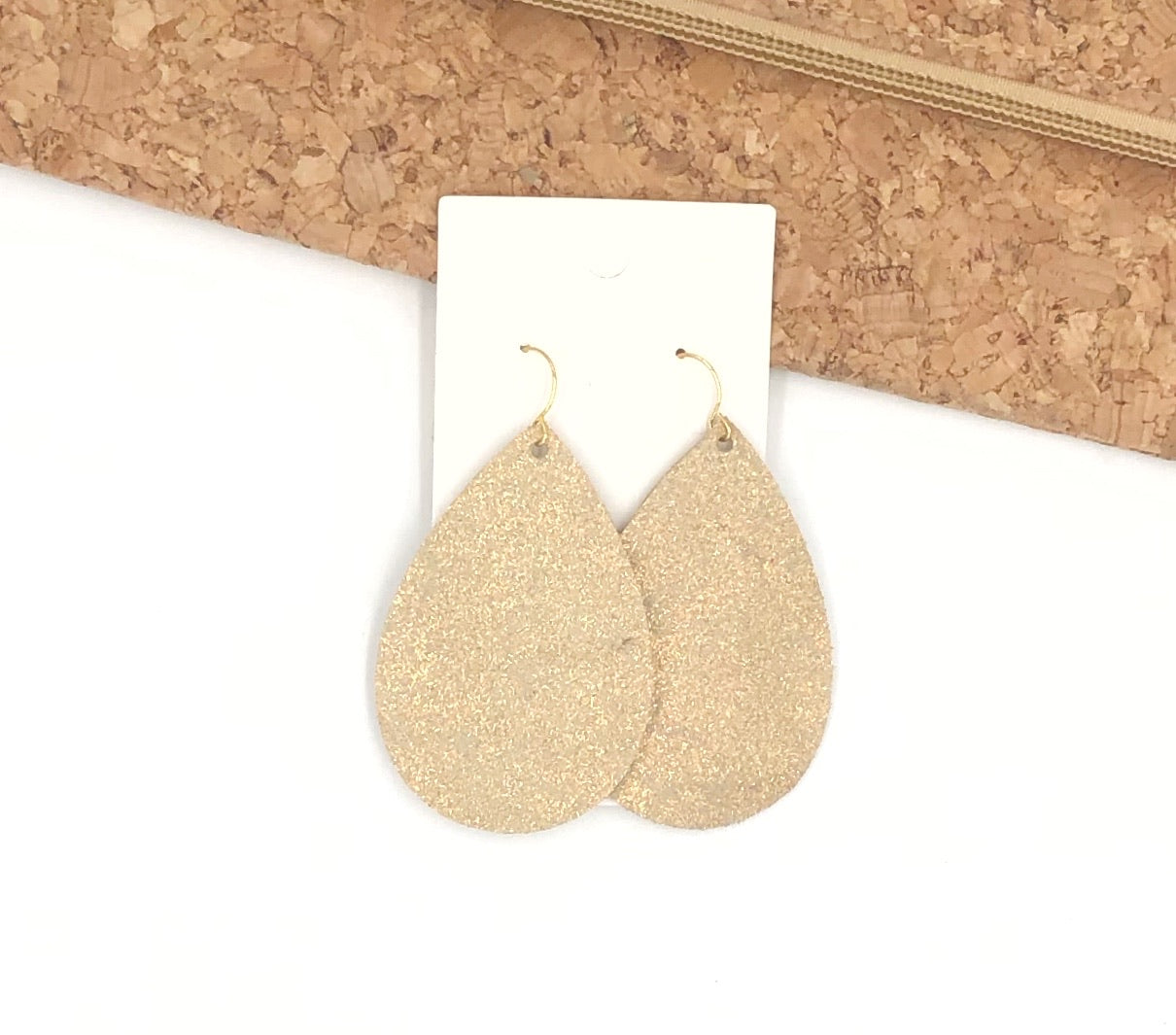 Rose Gold Shimmer Leather Teardrop