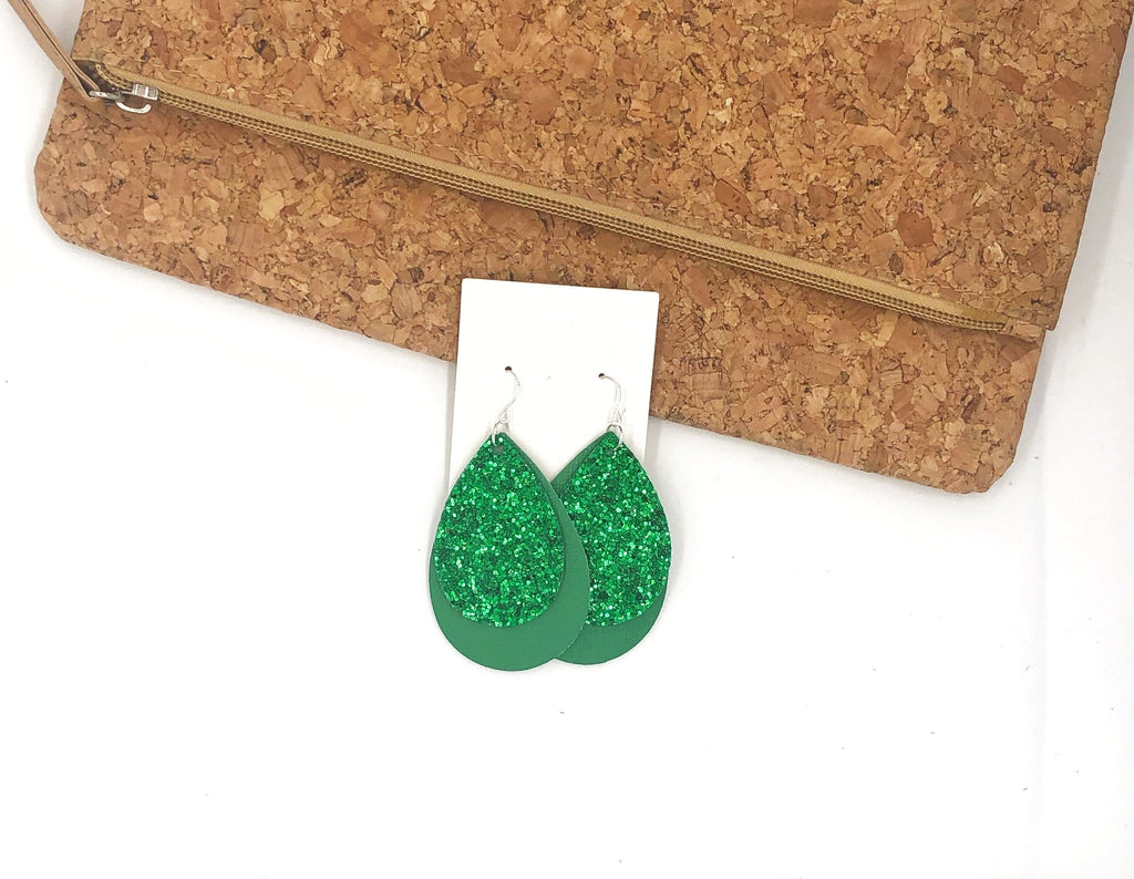 Green Glitter Layered Teardrop