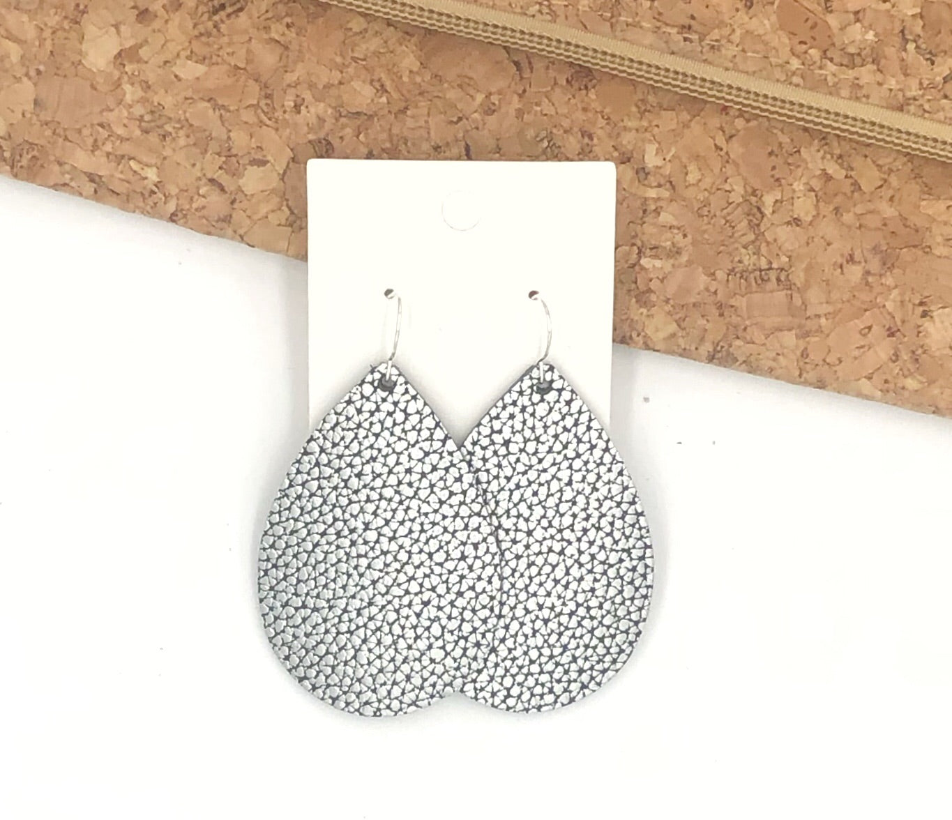 Silver Black Crackle Leather Teardrop Earrings