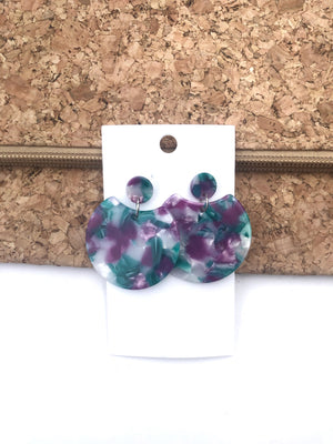 Purple and Green Crescent Acrylic Earrings