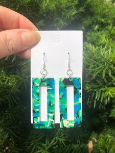 Green Acrylic Rectangle Earrings