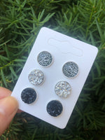 Snow Leopard Druzy Stud Trio Earrings