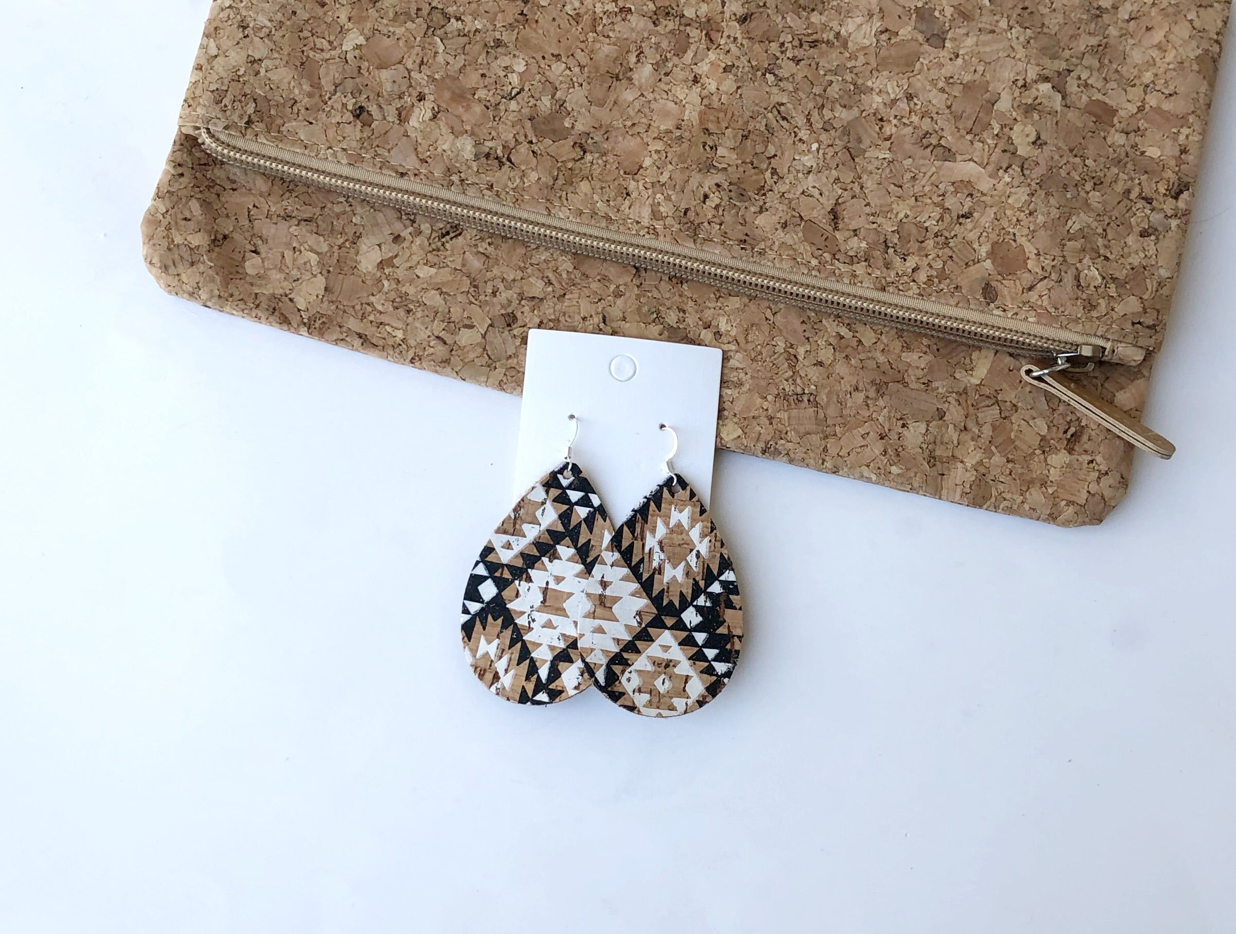 Aztec Corkleather Teardrop Earrings