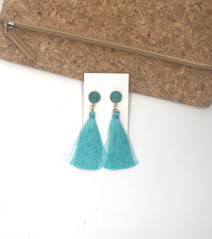 Turquoise Druzy Tassel Earrings