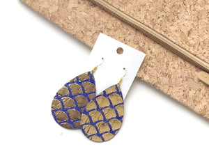 Gold and Blue Mermaid Leather Teardrop