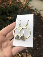 White or Grey Druzy Hoop Earrings