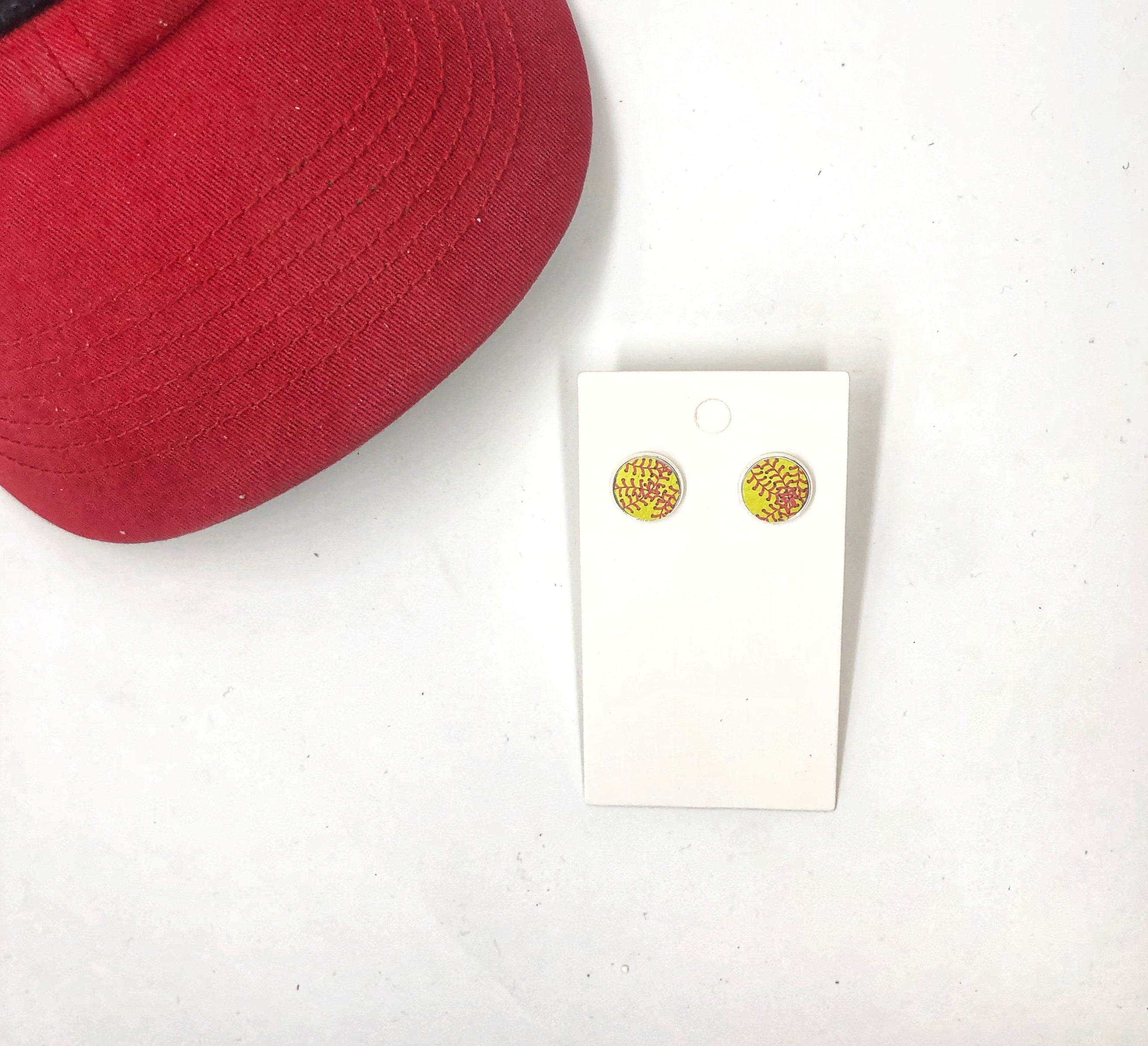 Softball Leather Stud Earrings