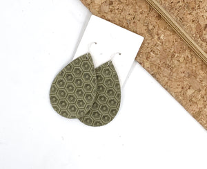 Olive Green Honeycomb Embossed Leather Teardrop