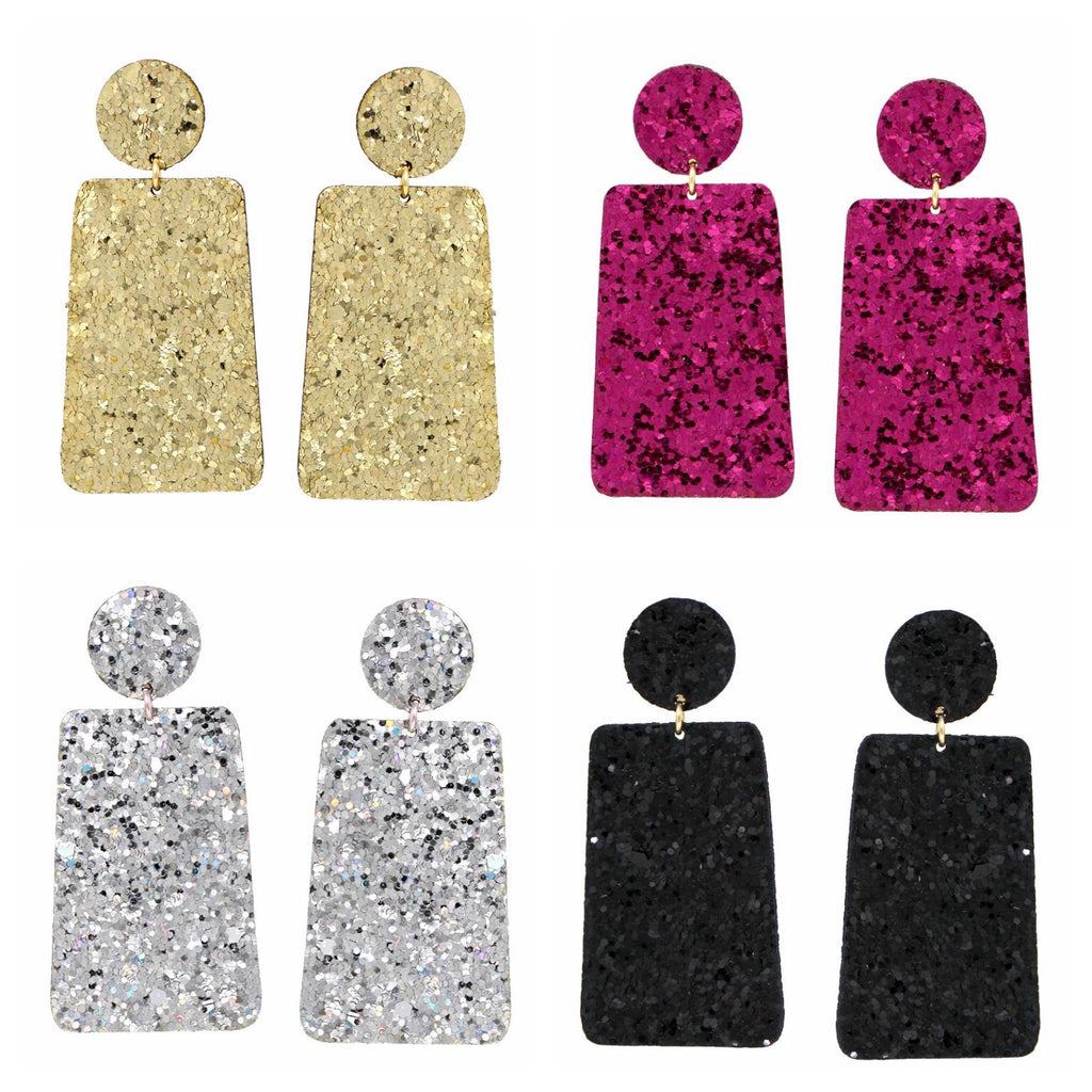 Square Drop Glitter Earrings