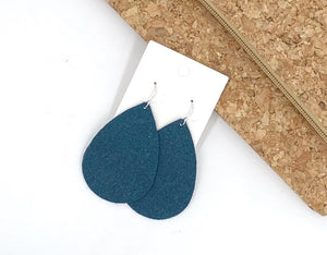 Teal Suede Leather Teardrop Earrings
