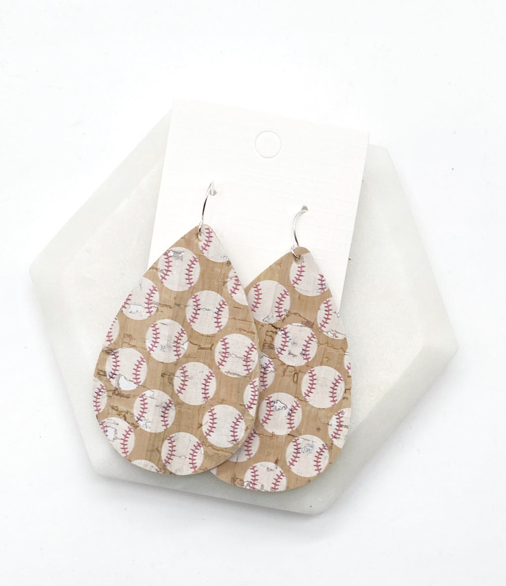 Baseball CorkLeather Earrings