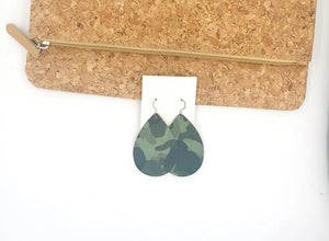 Green Camo Suede Teardrop