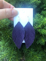 Purple Suede Leaf Fringe Earrings