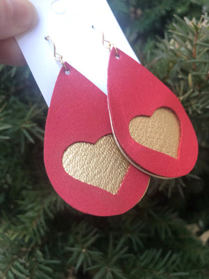 Red and Gold Peekabo Heart Teardrop Earrings