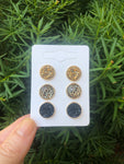 Gold Leopard Druzy Stud Trio Earrings