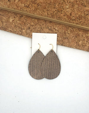 Rose Gold Herringbone Leather Teardrop Earrings