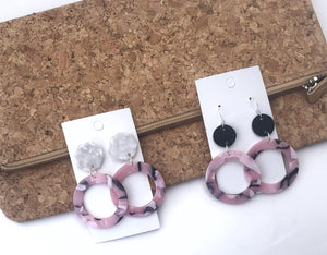 Pink Acrylic Hoop with Black Leather Circle Acrylic Earrings