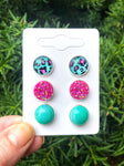 Aqua Leopard Druzy Stud Trio Earrings