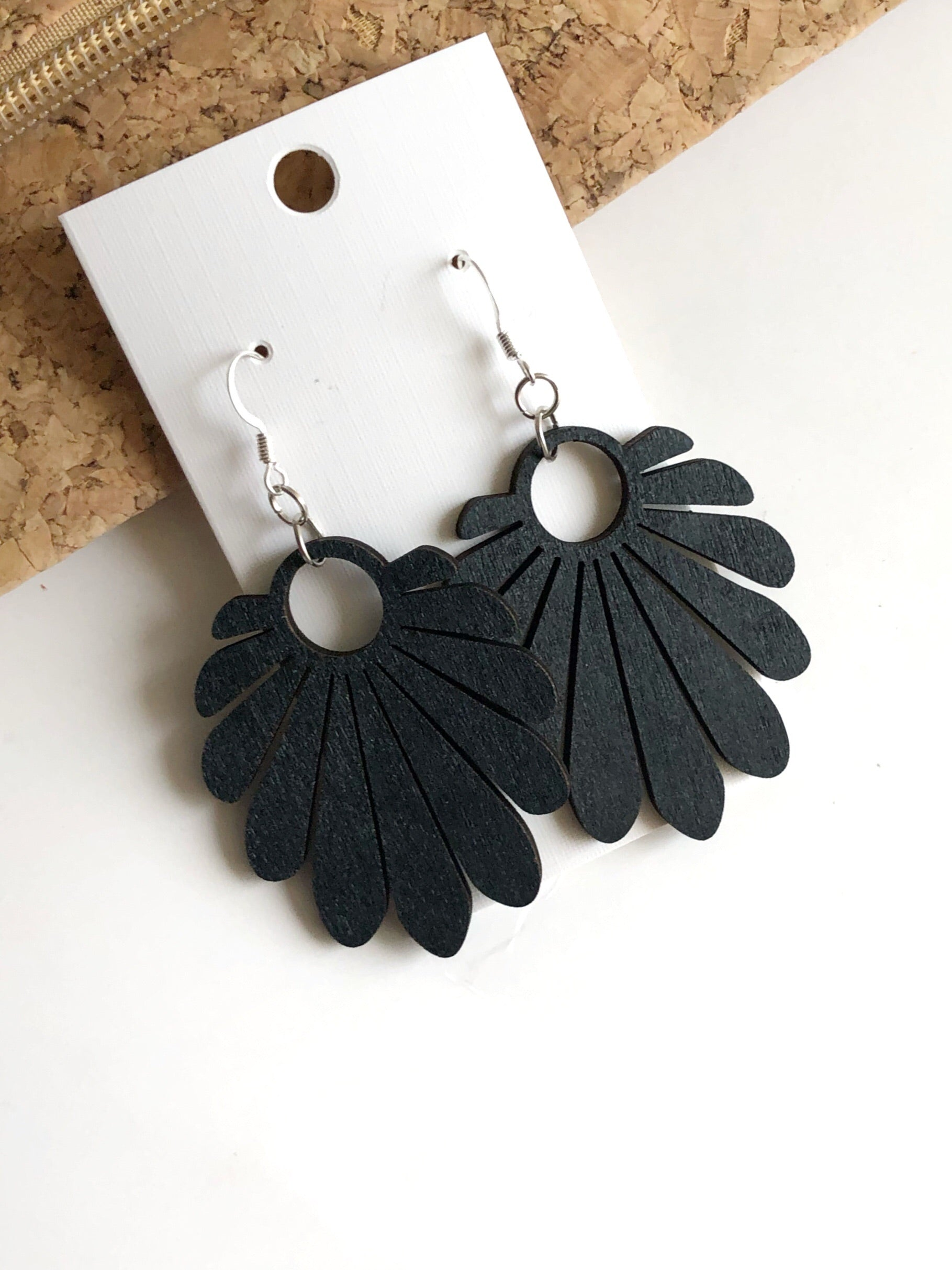 Black Blossom Wood  Earrings