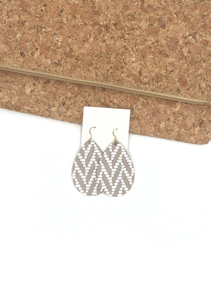 Taupe Brown White Chevron Teardrop Drop Earrings