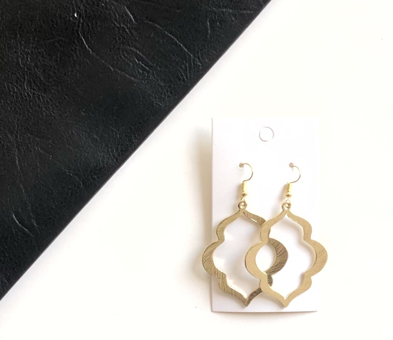 Gold Flourish Metal Drop Earrings