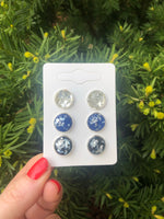 Silver Flake Stud Trio Earrings