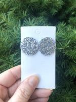 Silver Glitter Leather Statement Studs