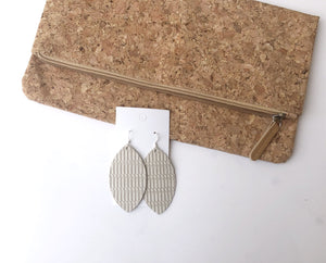 Cream  Twist Marquis Leather Earrings