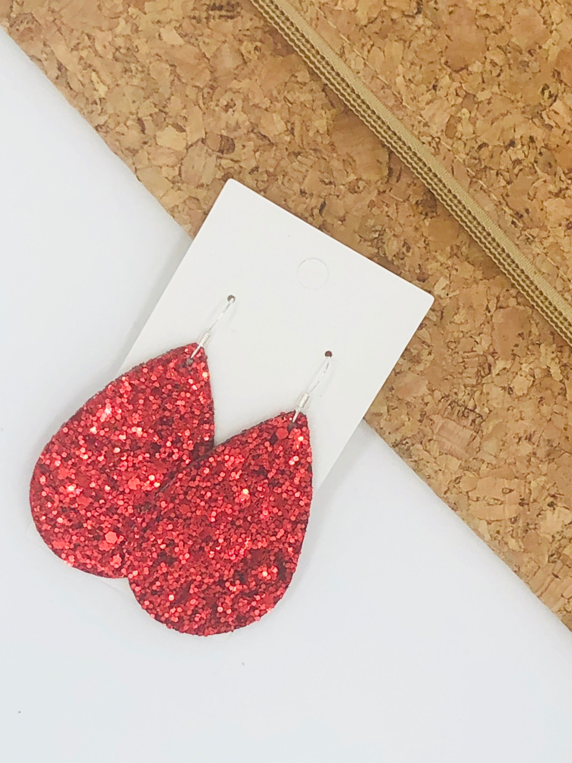 Red Glitter Teardrop Earrings