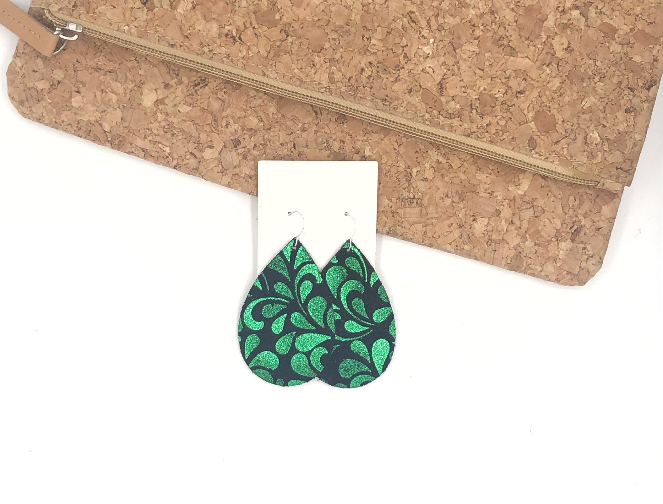 Emerald Green Swirl Leather Teardrop