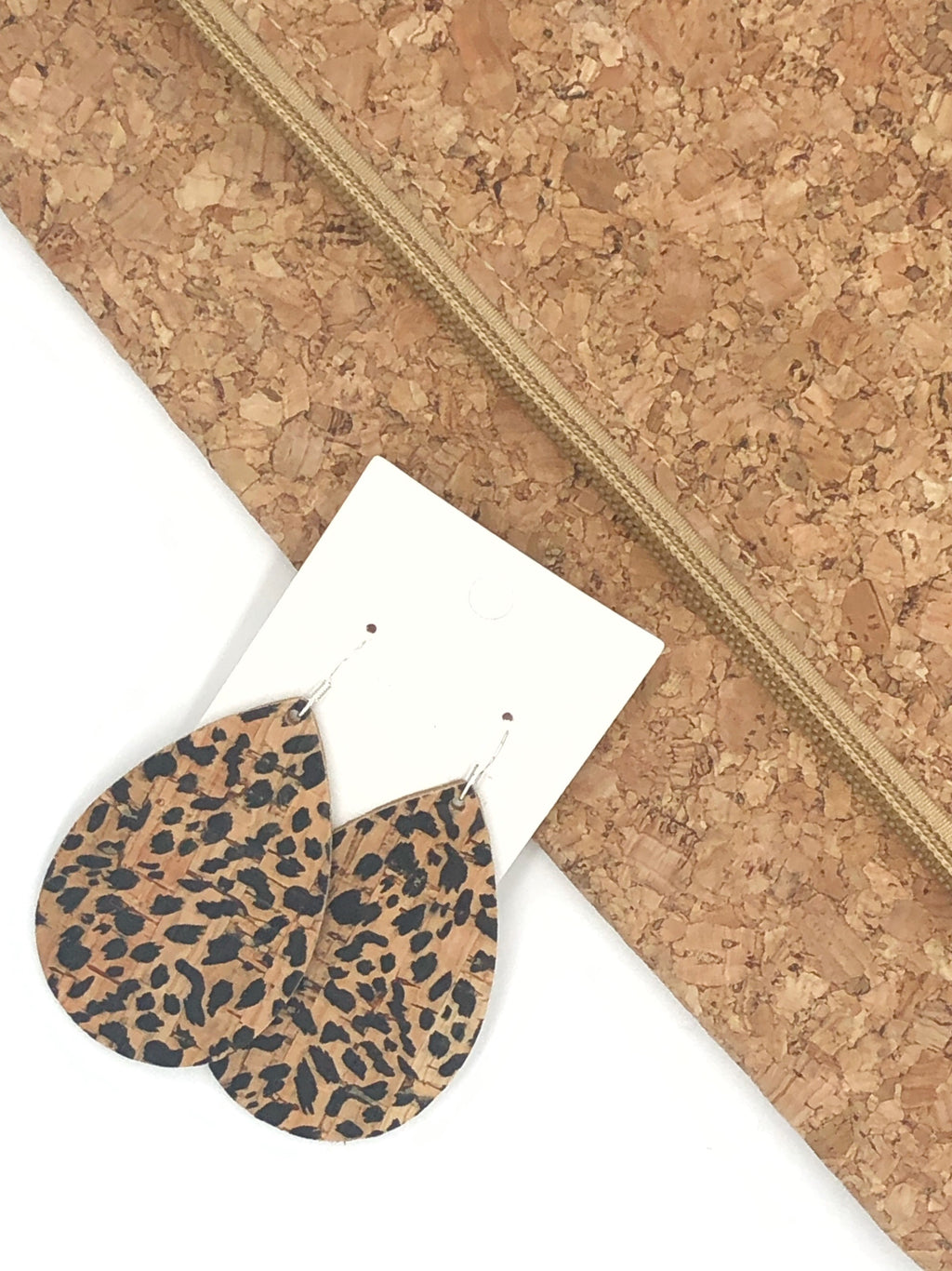 Cheetah Cork Bonded with Leather Teardrop