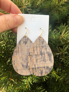 Driftwood Cork Bonded with Leather Teardrop