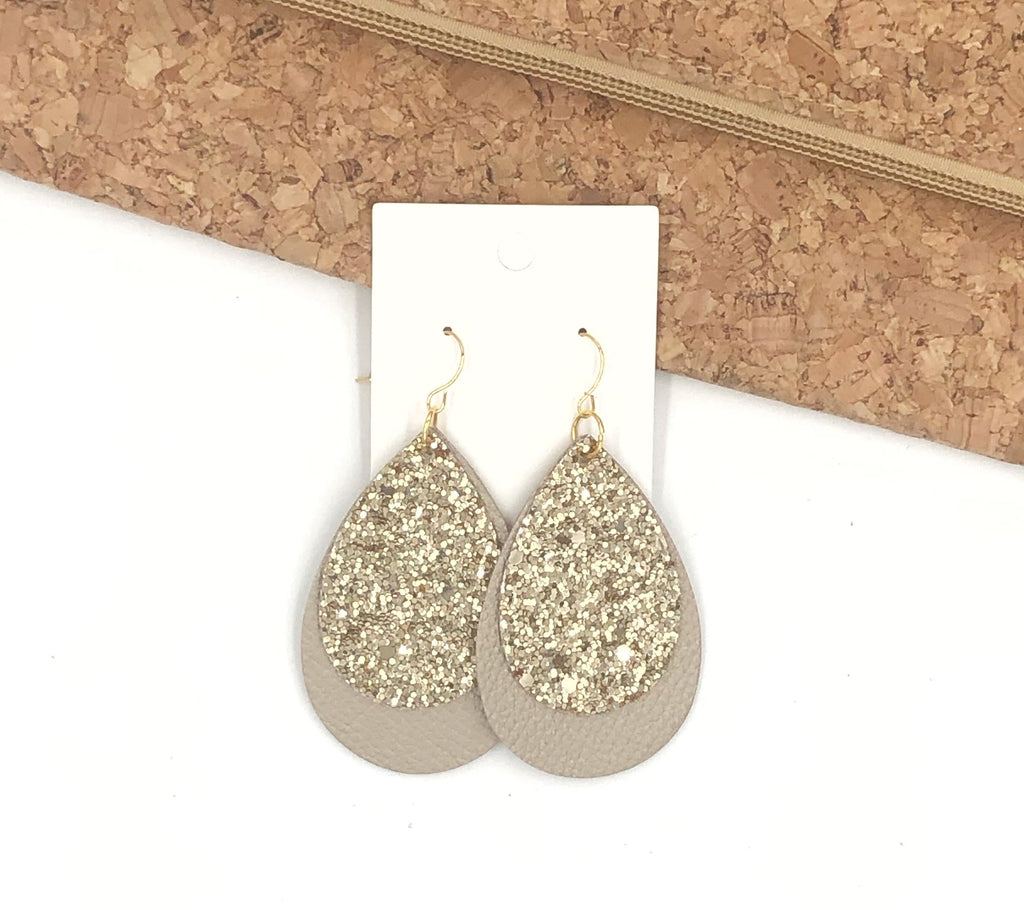 Gold Glitter Layered Teardrop