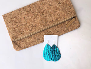 Turquoise Metallic Woven Leather Earrings