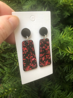 Red Glitter Bell Acrylic Earrings