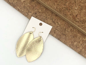 Gold Marquis Leather Earrings