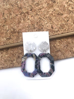 Purple Multicolor Octagon Acrylic Earrings