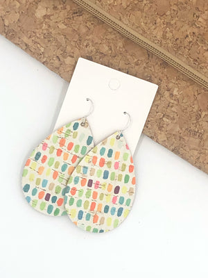 Neon Dotted Cork Bonded with Leather Teardrop
