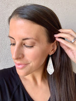 The Em Pinstripe Cork Bonded to Leather Earrings