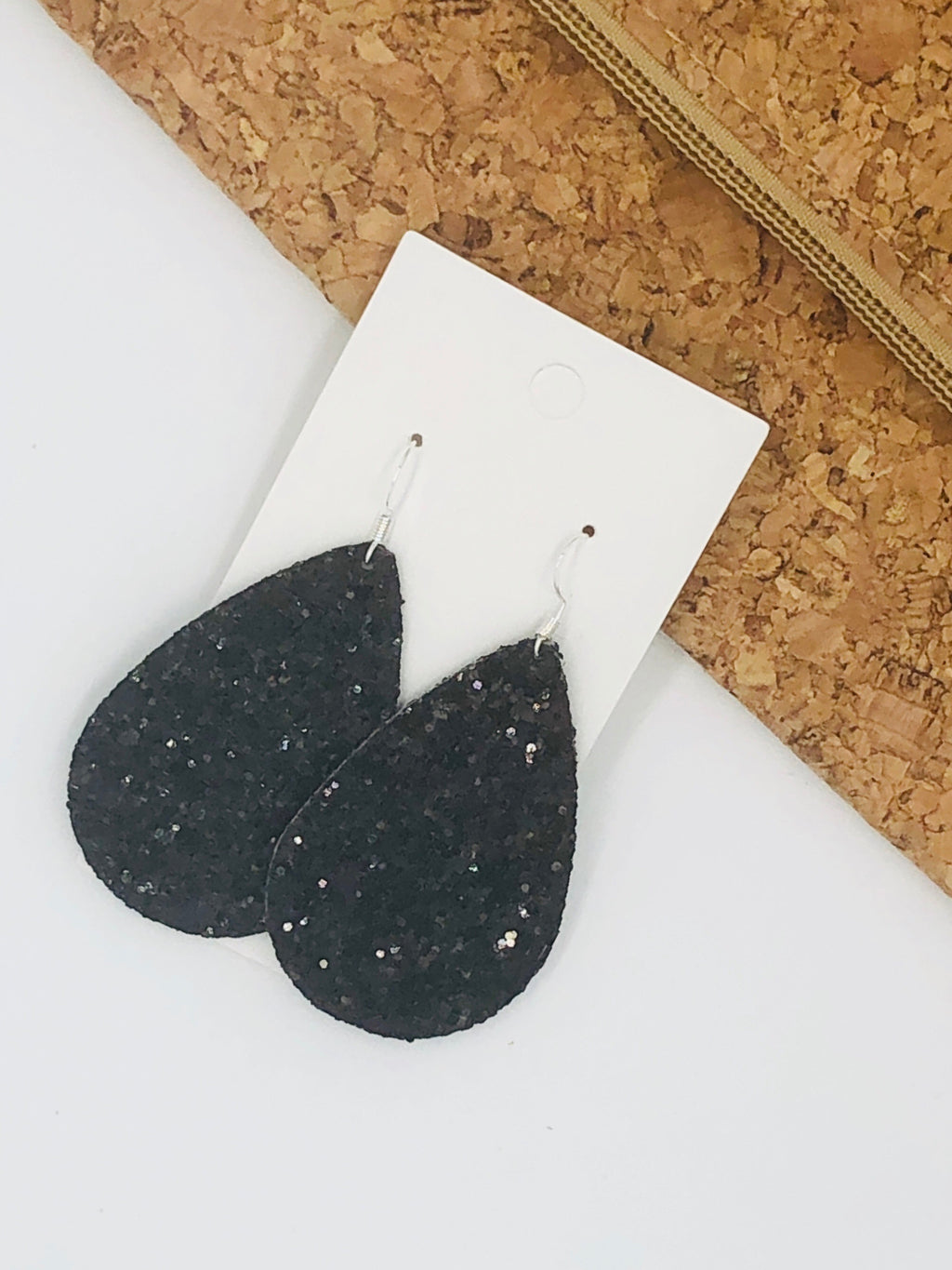 Black Glitter Teardrop Earrings