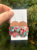 Pink and Turquoise Acrylic and Wood Deco Drops