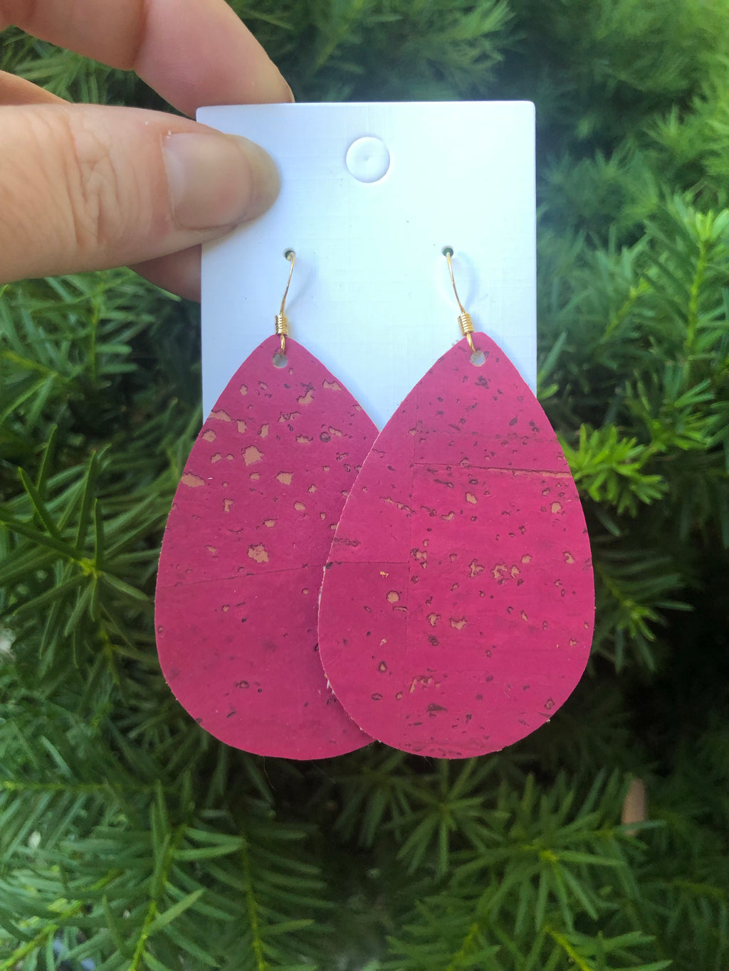 Pink CorkLeather Teardrop Earrings