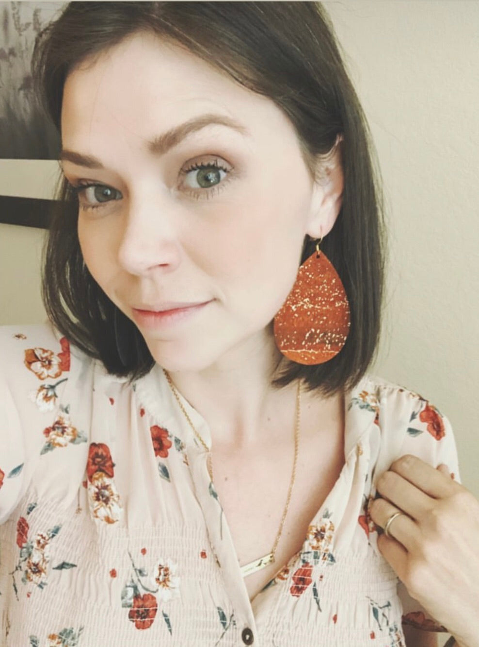 Burnt Orange Cork with Gold Flecks Teardrop Earrings