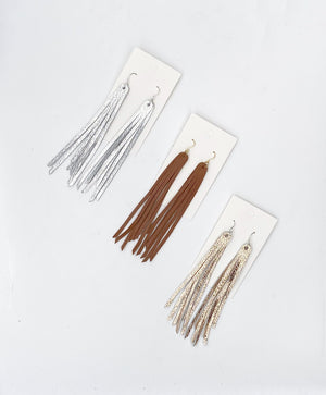 Cognac Long Fringe Leather Earrings