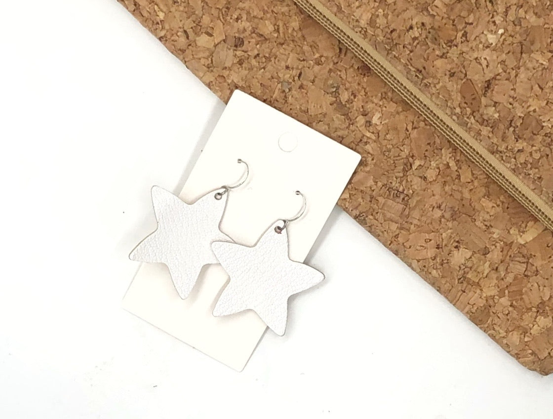 White Star Leather Earrings
