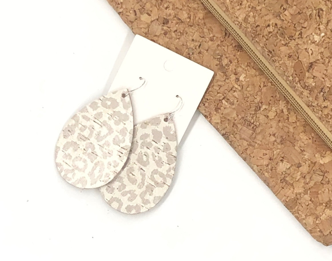 Snow Leopard Cork Bonded with Leather Teardrop