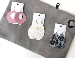 Black and White Lace CorkLeather Teardrop