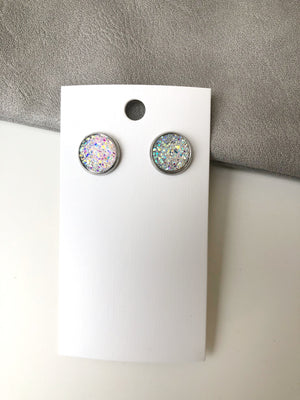 Clear Iridescent Druzy Stud Earrings